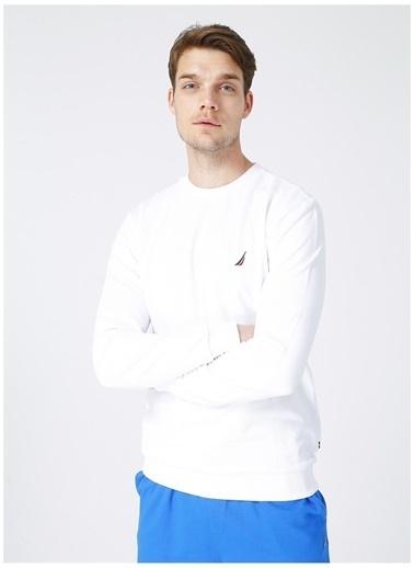 Nautica Nautica Erkek Bisiklet Yaka Beyaz Sweatshirt Beyaz
